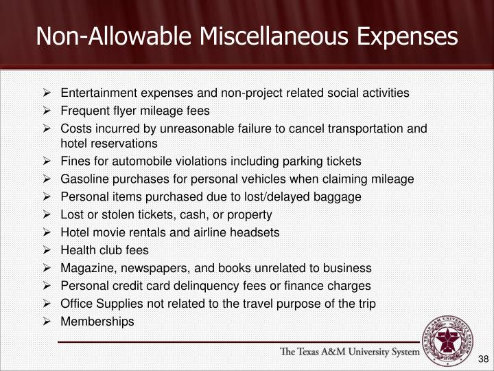 Non-Allowable Miscellaneous Expenses
