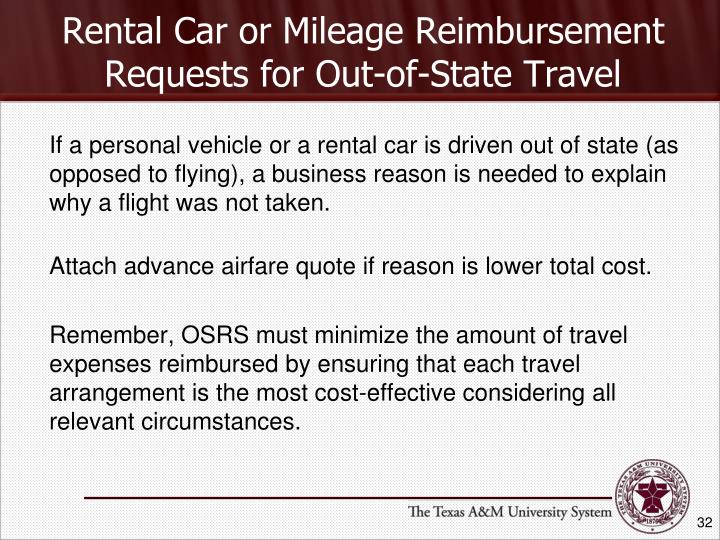 Rental Car or Mileage Reimbursement Requests for Out-of-State Travel