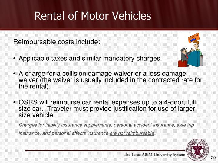 Rental of Motor Vehicles