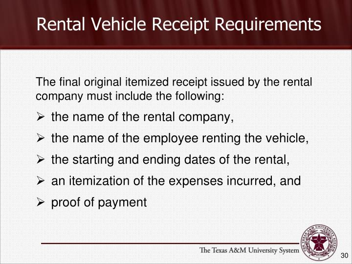 Rental Vehicle Receipt Requirements