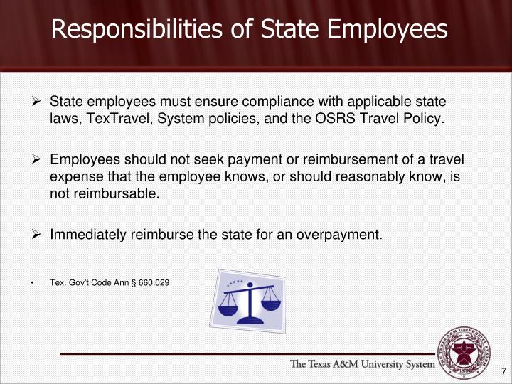 Responsibilities of State Employees