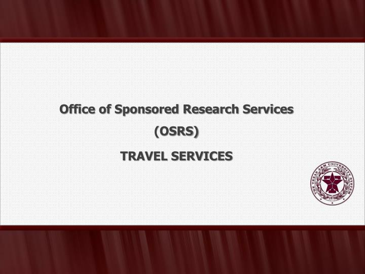 Office of Sponsored Research Services (OSRS)