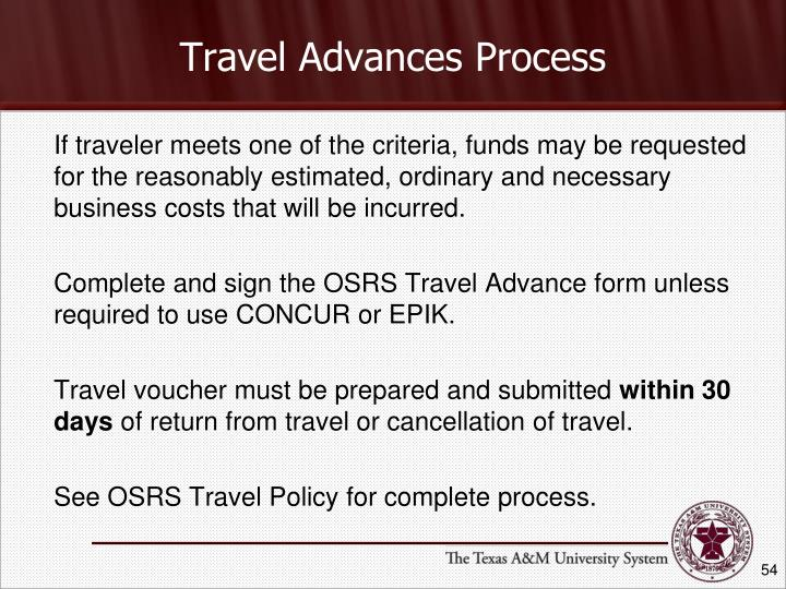 Travel Advances Process