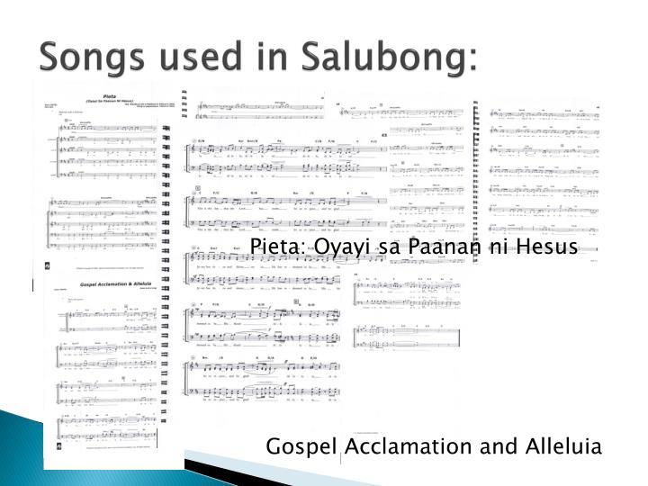 Songs used in