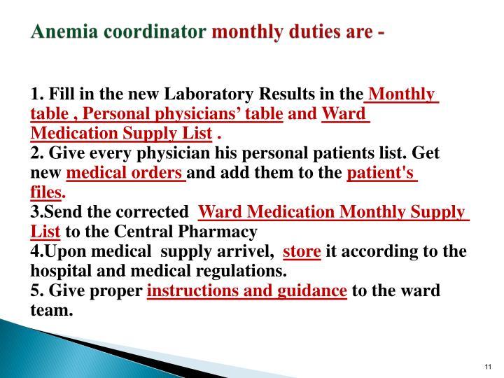 Anemia coordinator
