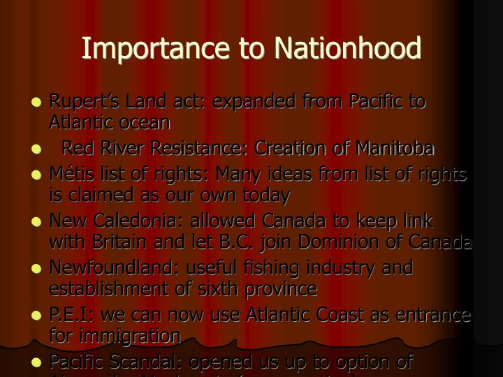Importance to Nationhood