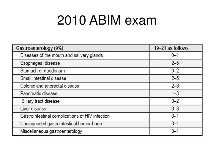2010 ABIM exam