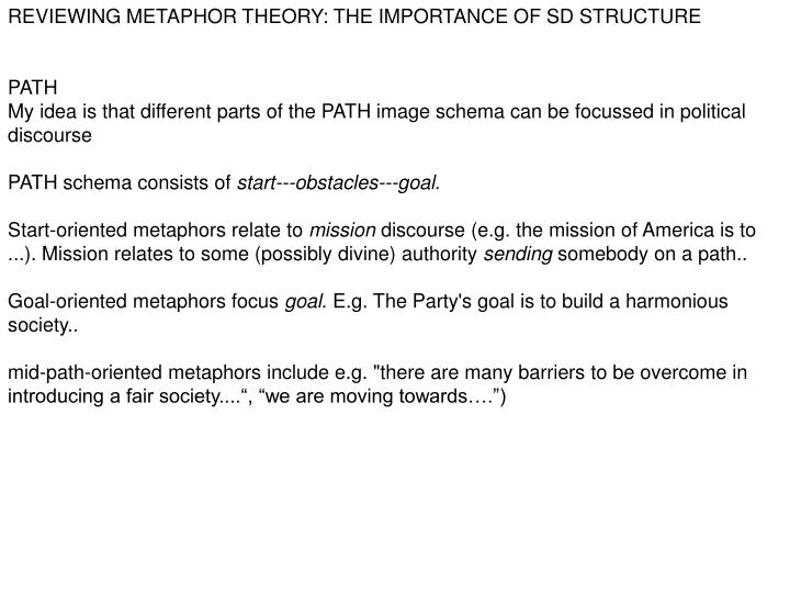 REVIEWING METAPHOR THEORY: THE IMPORTANCE OF SD STRUCTURE