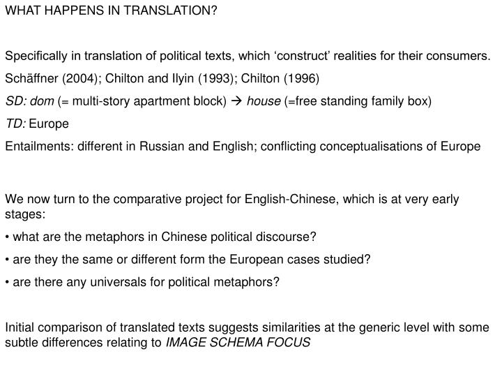 WHAT HAPPENS IN TRANSLATION?
