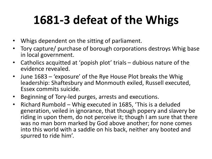 1681-3 defeat of the Whigs