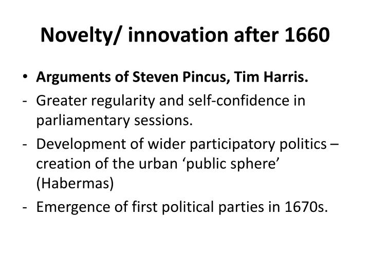 Novelty innovation after 1660