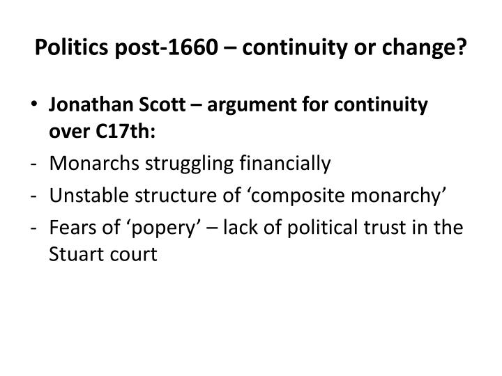 Politics post 1660 continuity or change