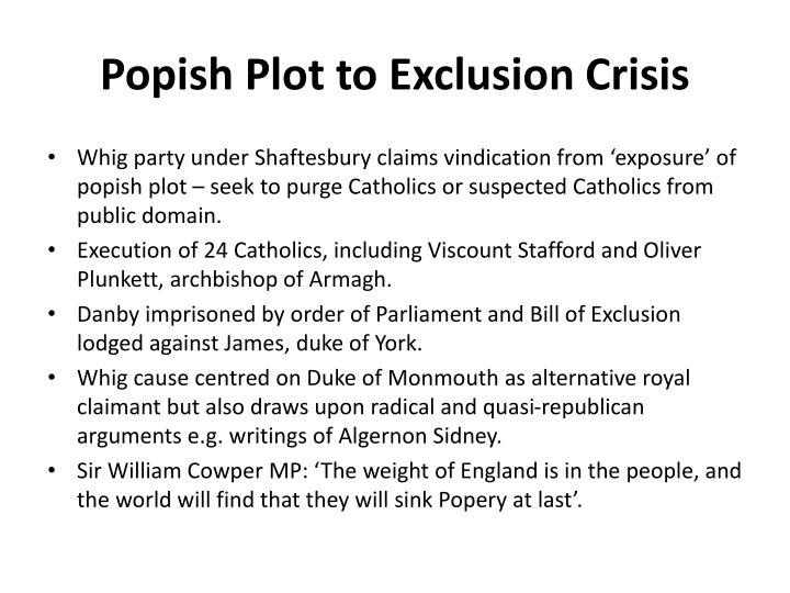 Popish Plot to Exclusion Crisis