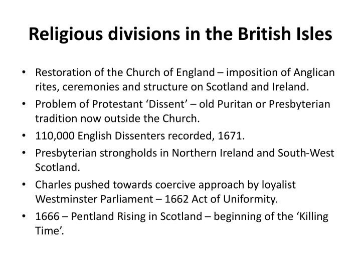 Religious divisions in the British Isles
