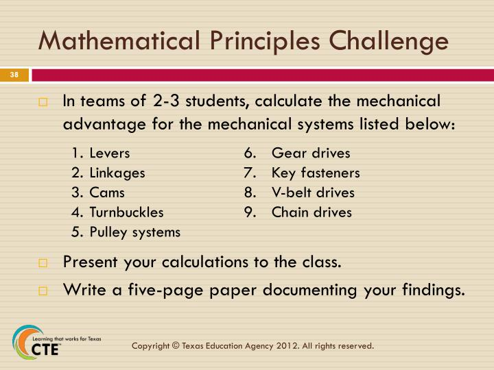 Mathematical Principles Challenge