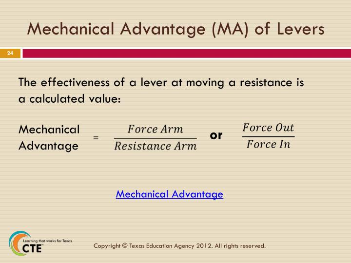 Mechanical Advantage (MA) of Levers