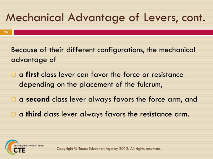 Mechanical Advantage of Levers, cont.