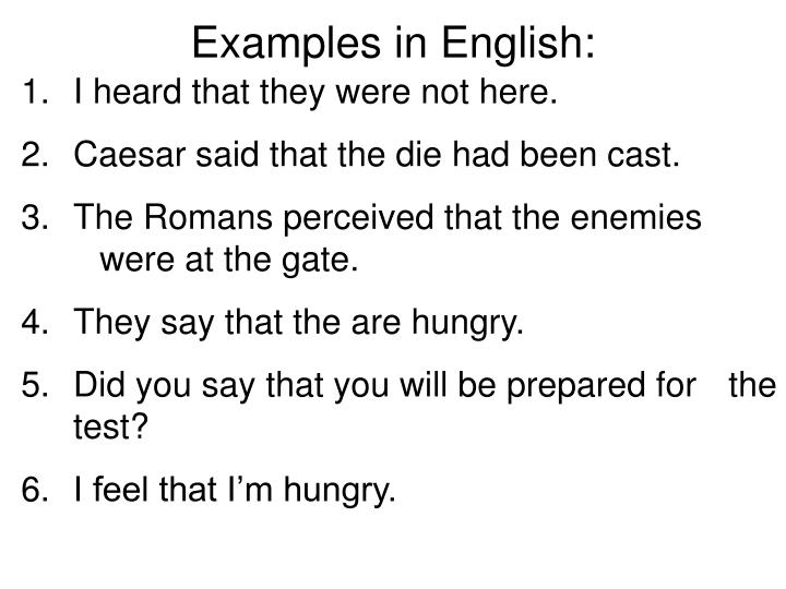 Examples in English: