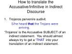 how to translate the accusative infinitive in indirect discourse