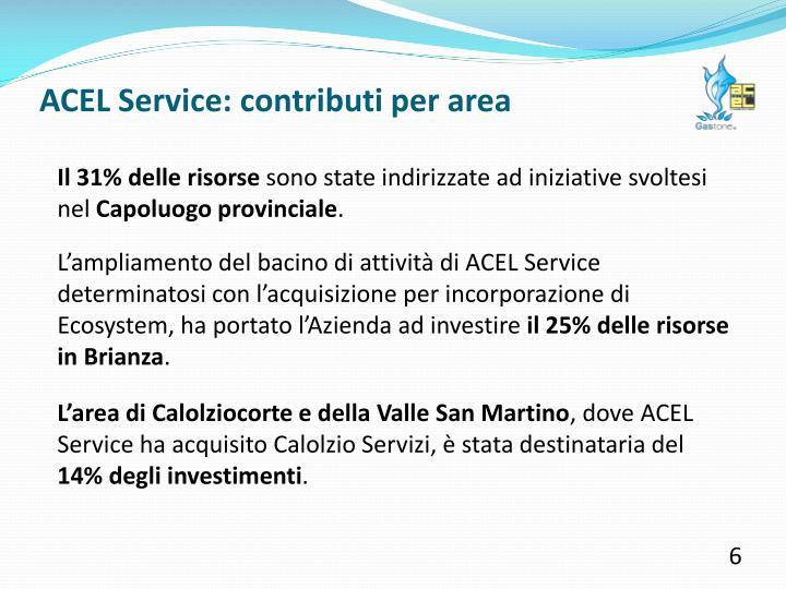 ACEL Service: contributi per area