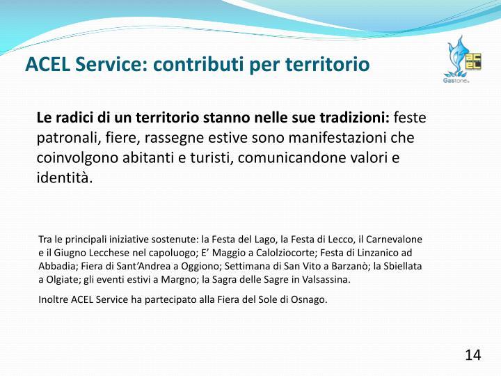 ACEL Service: contributi per territorio