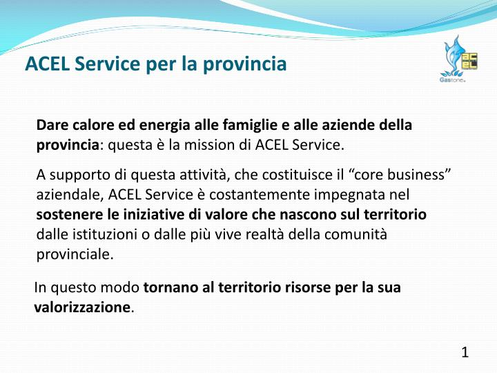 ACEL Service per la provincia