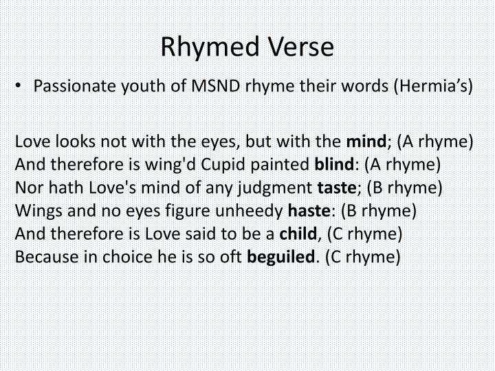 Rhymed Verse