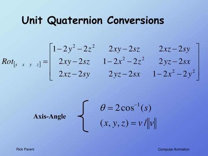 Unit Quaternion Conversions