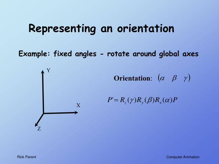 Representing an orientation