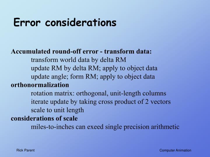 Error considerations