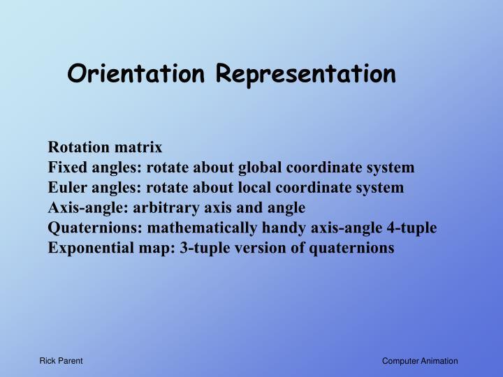 Orientation Representation