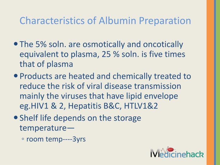 Characteristics of Albumin Preparation
