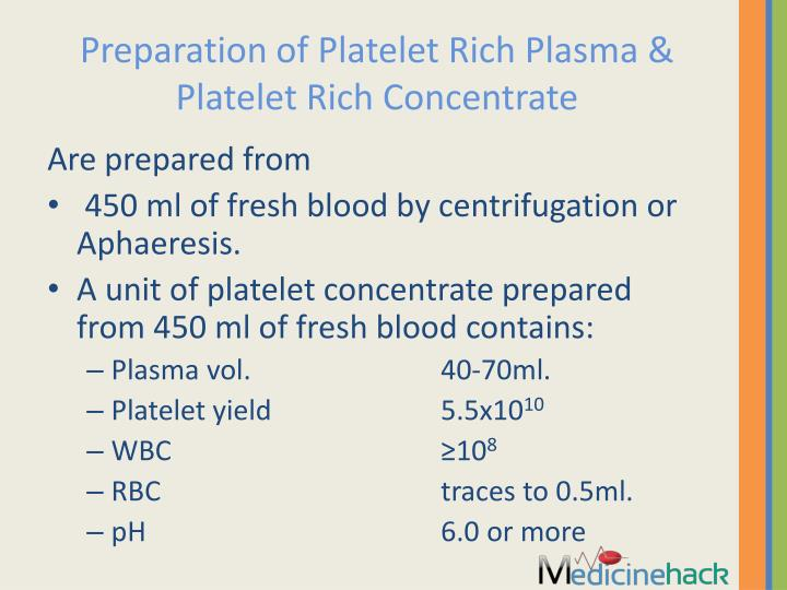 Preparation of Platelet Rich Plasma & Platelet Rich Concentrate