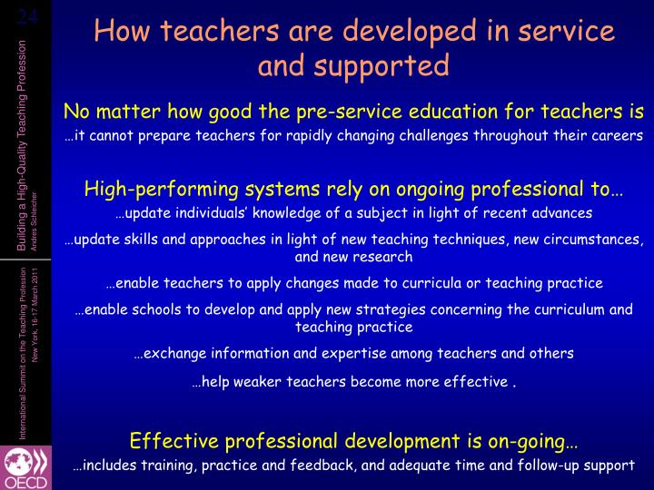 How teachers are developed in service