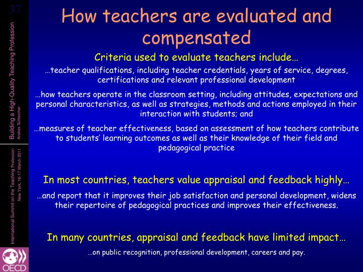 How teachers are evaluated and compensated