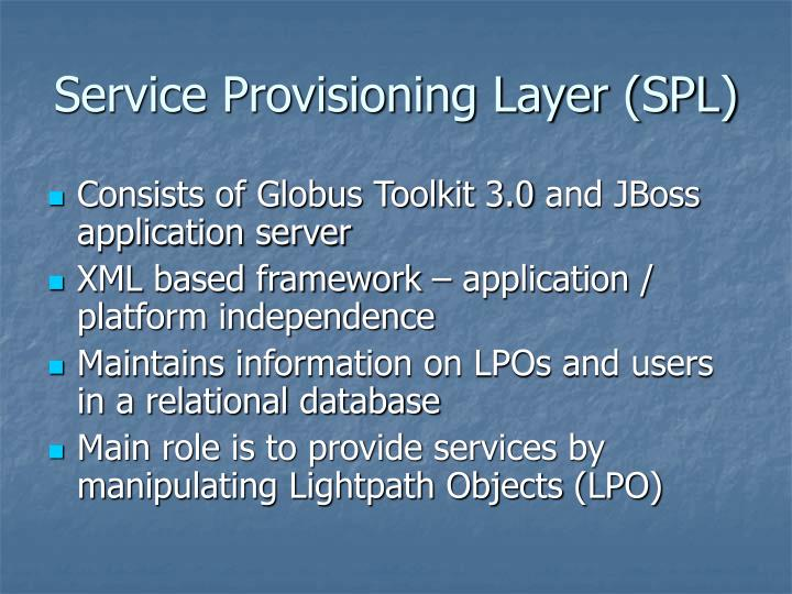 Service Provisioning Layer (SPL)