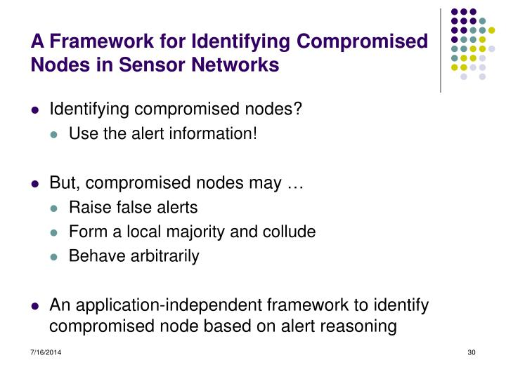A Framework for Identifying Compromised Nodes in Sensor Networks