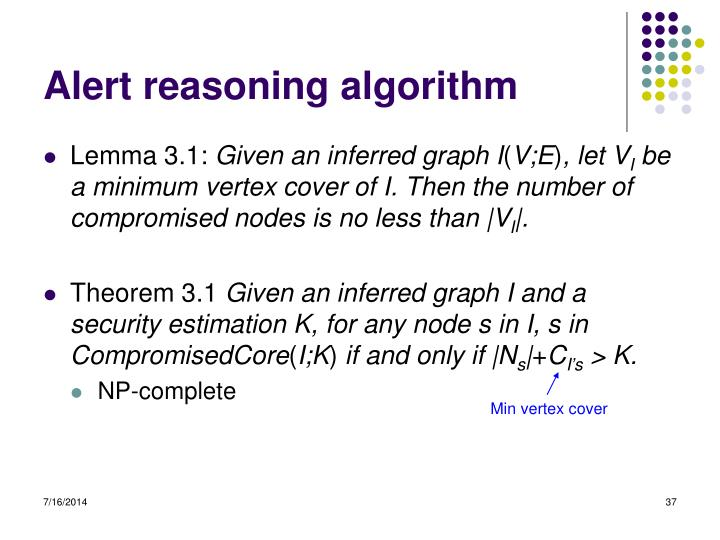 Alert reasoning algorithm
