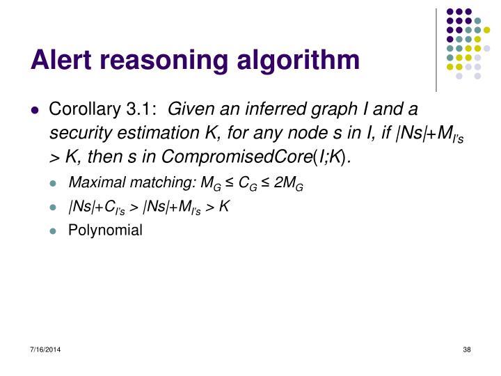 Alert reasoning algorithm