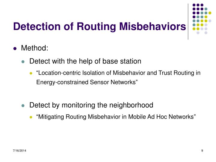 Detection of Routing Misbehaviors