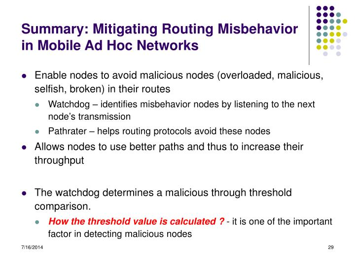 Summary: Mitigating Routing Misbehavior in Mobile Ad Hoc Networks