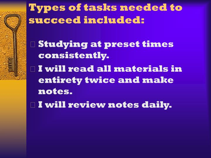 Types of tasks needed to succeed included: