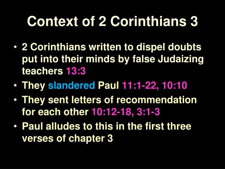 Context of 2 Corinthians 3