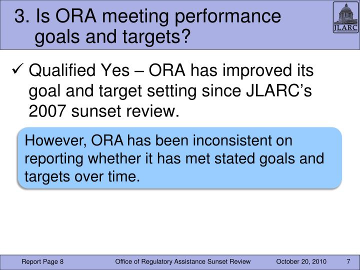 3. Is ORA meeting performance