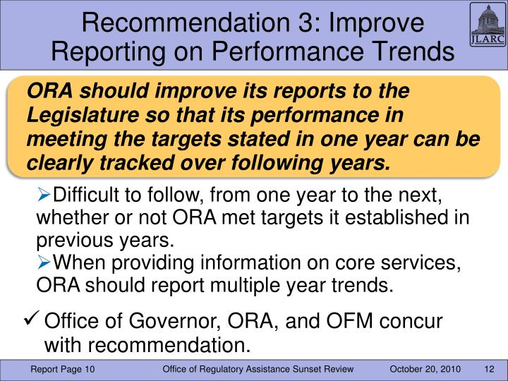 Recommendation 3: Improve Reporting on Performance Trends