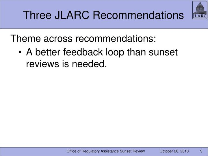 Three JLARC Recommendations
