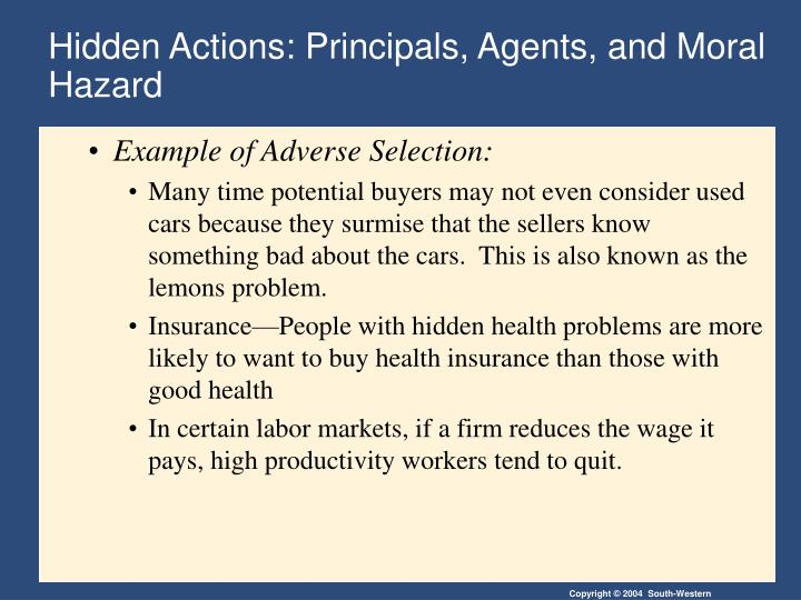 Hidden Actions: Principals, Agents, and Moral Hazard