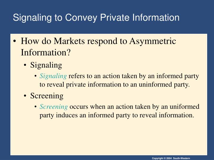 Signaling to Convey Private Information
