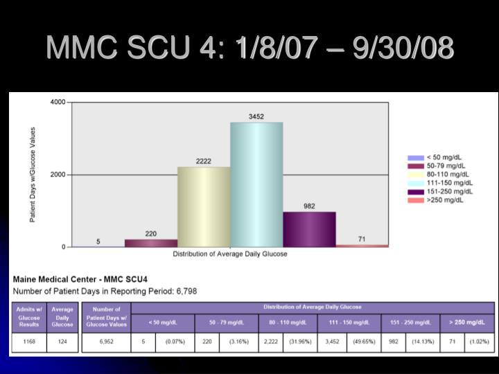MMC SCU 4: 1/8/07 – 9/30/08