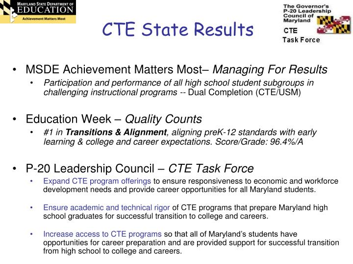 CTE State Results